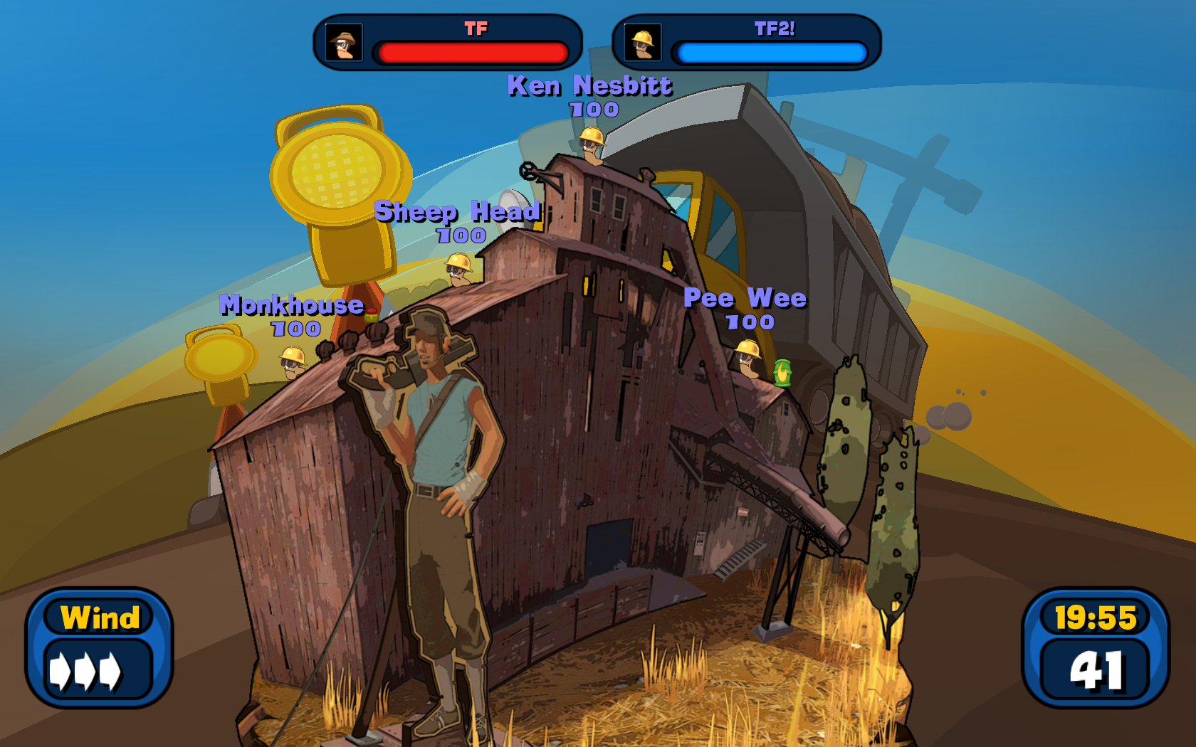 Worms Reloaded: Screenshot aus dem Team Fortress 2 DLC-Paket