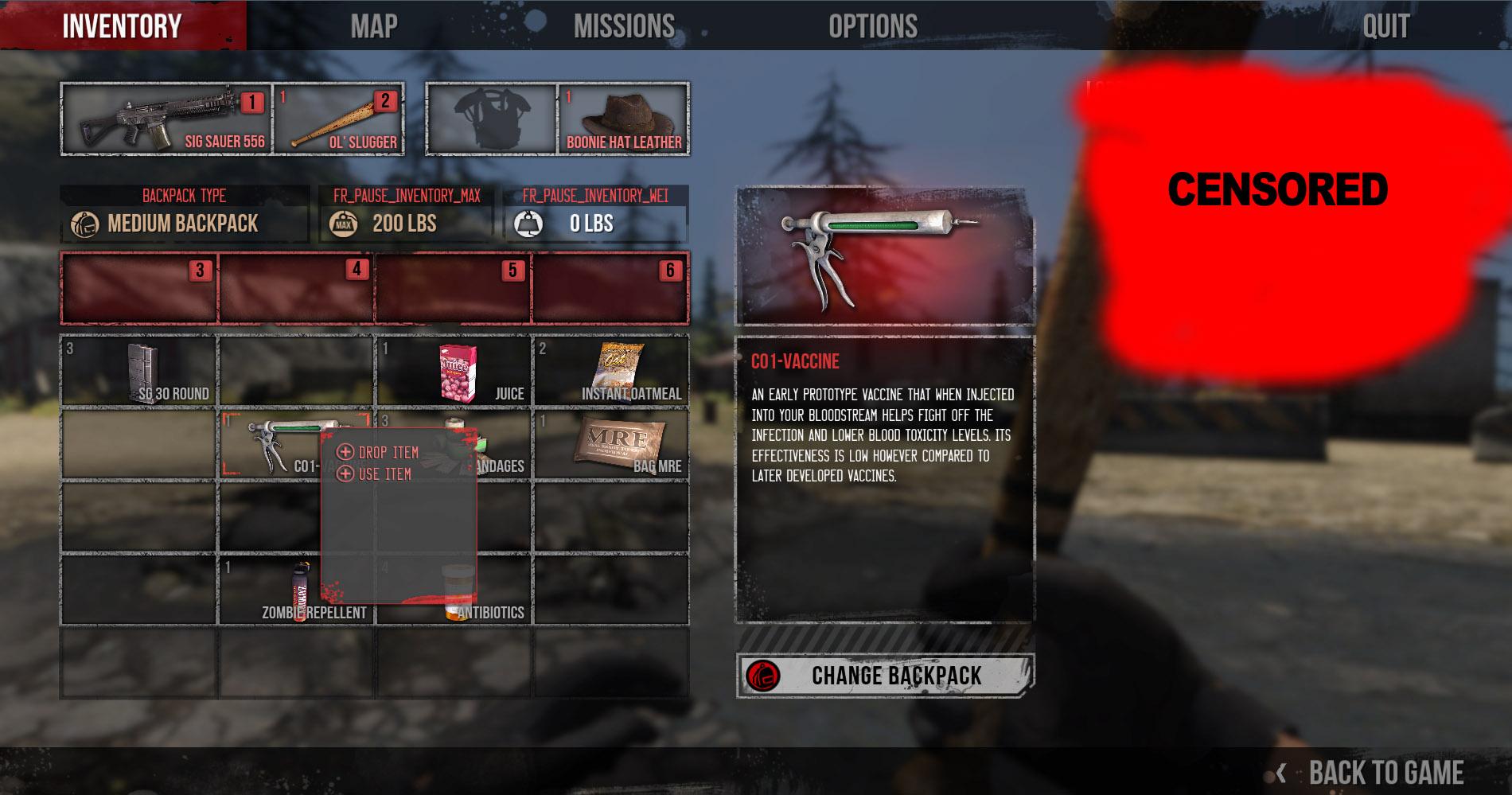 The War Z: Inventar-Screenshot aus dem Survival Horror MMO