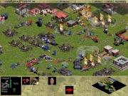 Age of Empires: Der blaue Gegner scheint den roten Gegner zu vernichten, wenn dieser nicht noch woanders ein Lager hat.