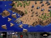 Age of Empires: The Rise of Rome: Berittene Einheiten, Fußtrupps und Schiffe treffen sich am Hafen.