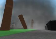 Sprengmeister-Simulator: Trümmer dürfen nicht über das grüne Feld fliegen.