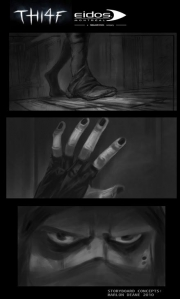 Thief: Storyboard zum Action-Adventure.