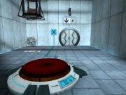 Portal: Du musst durch die Tür. Sie geht nur auf, wenn du den Knopf betätigst.